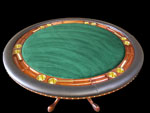Round Mahogany Poker Table With Cigar Holders