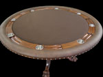 Mahogany Round Poker Table With Custom Grooved and Solid Chiprack